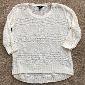 Ivory 3/4 sleeve crochet top